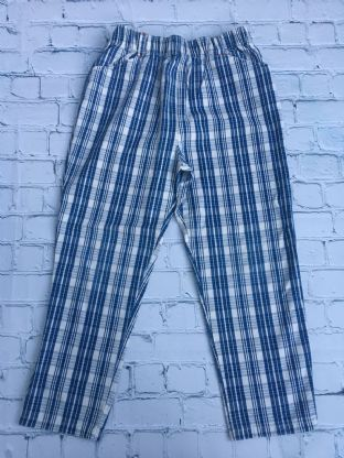Mini Boden blue checked trousers age 5-6